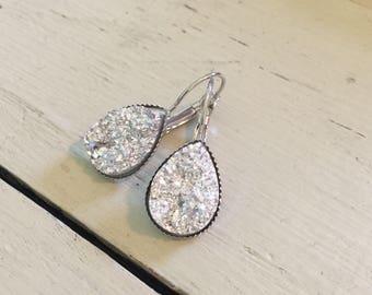 Silver teardrop druzy earrings-great for special occasions!