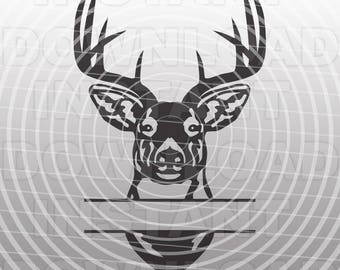 buck head deer hunting svg file cutting template silhouette etsy