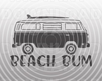 5c17a072cd2 Beach Bum Surfer Van SVG File,Beach svg,Surfing svg -Vector Art Commercial  & Personal Use- Cricut,Silhouette,Cameo,Vinyl Decal,Iron on Vinyl