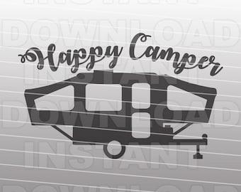Happy Camper Pop Up Travel Trailer SVG File Cricut Svgsilhouette Svgsvg Cutcuttable Cut Filevector Svgvinyl Filecricut Design