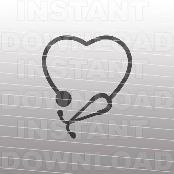 stethoscope heart nursing svg file cutting template clip art etsy