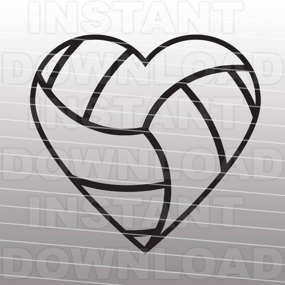 Volleyball Heart SVG File Cutting Template-Clip Art for