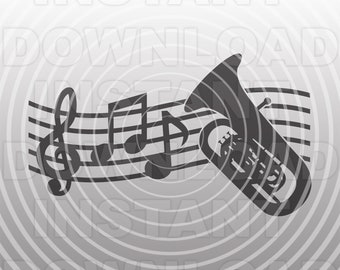 Tuba SVG File,Music Notes SVG,Marching Band SVG,Musical Instrument svg -Vector Art Commercial/Personal Use- Cricut,Silhouette,Vinyl Decal