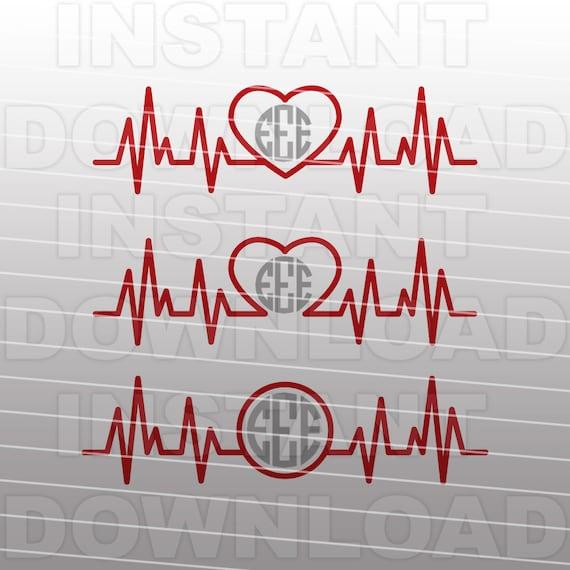 Heartbeat Svg Fileekg Svg Filepulse Svgnursing Monogram Etsy