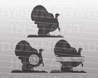 Turkey Hunter Monogram SVG File,Turkey Hunting SVG File,Turkey SVG-Vector Clip Art for Commercial & Personal Use-Cricut,Cameo,Silhouette