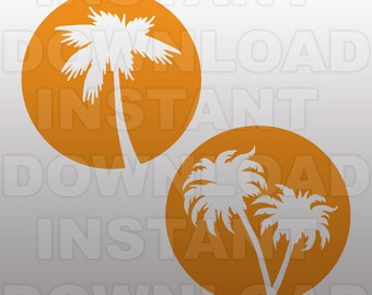 Palm Tree SVG File,Vacation SVG File-Cutting Template-Vector Clip Art-Commercial & Personal Use for Cricut,Cameo,Vinyl,Silhouette,Decal