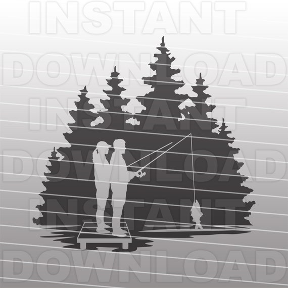 Download Couple Fishing From A Dock Svg Filefishing Scene Svg Etsy