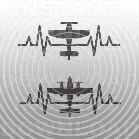 Heartbeat Ekg Pulse Airplane Svg File Vector Art Personal Etsy