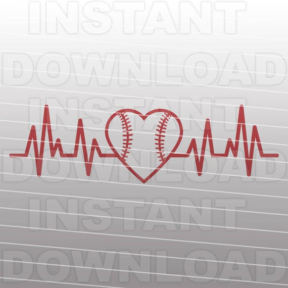 Baseball Heartbeat Svg Filebaseball Heart Svgcut Filevector Etsy