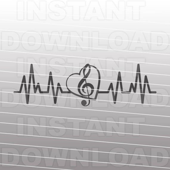 Treble Clef Heart Music Note Heartbeat Ekg Pulse Svg File Etsy