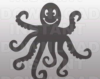 Octopus SVG File,Nautical svg,Ocean svg -Vector Art for Commercial & Personal Use,Download SVG Cut File for Silhouette and Cricut Cutter