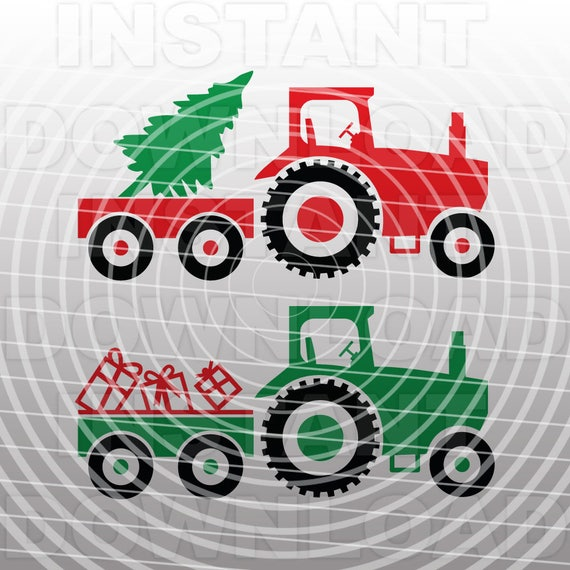 christmas svgfarm tractor svg file cutting template vector etsy