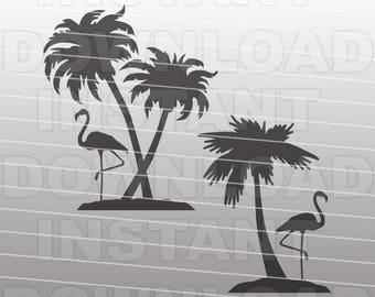 Flamingo Palm Trees SVG File,Beach Scene SVG File - Commercial & Personal Use - vector clip art for Cricut,Silhouette,vinyl cutter