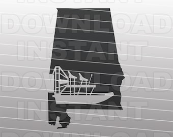 Airboat SVG File,Alabama SVG,Bayou Boat svg,Swamp Boat svg -Vector Art Commercial & Personal Use- Cricut,Silhouette,Cameo,Vinyl Decal