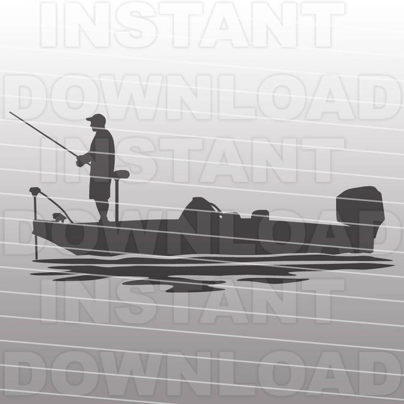 Bass Boat SVG File - Bass Fishing SVG File - Fisherman SVG File - Vector  Clip Art - Commercial & Personal Use-Cricut,Silhouette Cameo