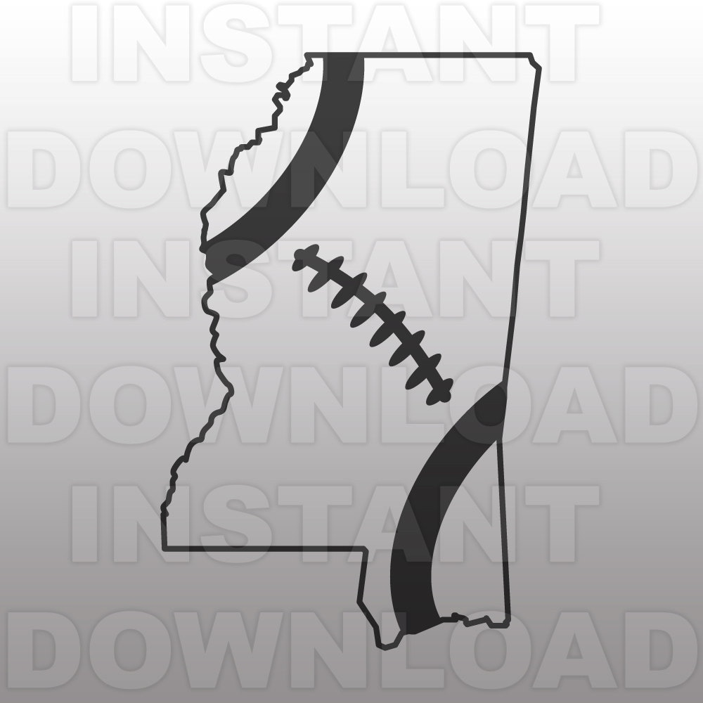 Snap Football Mississippi Outline Svg File Cutting Template Clip