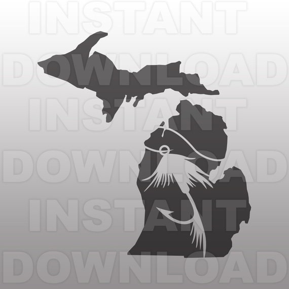 Download Michigan State Fly Fishing Svg File Commercial Personal Etsy