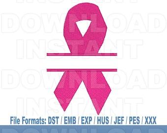 Breast Cancer Awareness Pink Ribbon Machine Embroidery Design Download,Filled Stitch,4X4 Hoop,PES File,JEF File,hus File,dst File,exp File