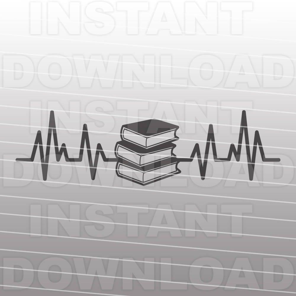 Download Heartbeat EKG Books SVG FileBook Lover Reading SVG | Etsy