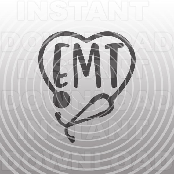 EMT Stethoscope Heart SVG File,Emergency Medical Technician SVG,ems svg  -Commercial & Personal Use- Cricut,Silhouette,Cameo,Vinyl Cut File