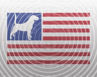 Beagle Hunting Dog USA American Flag SVG File,Coon Hunter svg,Rabbit Hunter svg -Commercial/Personal Use-Cricut,Cameo,Silhouette,Vinyl Decal