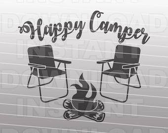Happy Camper Campfire Bonfire SVG File -cricut svg,silhouette svg,svg cuts,cuttable svg,svg cut file,vector svg,vinyl file,cricut design