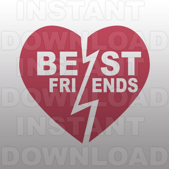 Best Friends Svg Filebff Heart Svg File Cutting Etsy