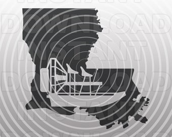 Airboat SVG File,Louisiana SVG,Bayou Boat svg,Swamp Boat svg -Vector Art Commercial & Personal Use- Cricut,Silhouette,Cameo,Vinyl Decal