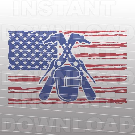 Welder Welding American Usa Flag Svg File Vector Clipart For Etsy