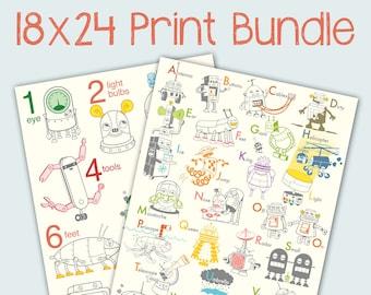 18x24 Robot Print Bundle - robot poster, baby art, nursery decor, robot art print, alphabet art print, number wall art