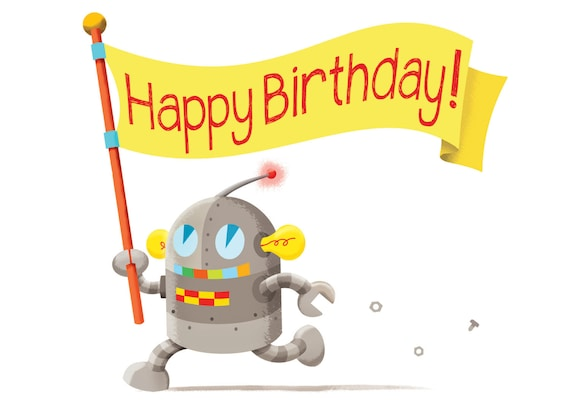 Feliz Cumpleaños Tarjeta Para Invitación De Fiesta De Cumpleaños Tarjeta De Felicitación Del Robot Niño Tarjeta De Cumpleaños Linda Para Los