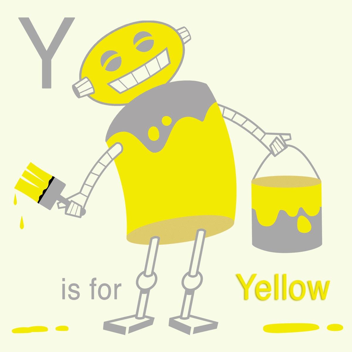 Alphabet Art Print Robot Art Y is for Yellow Letter art   Etsy