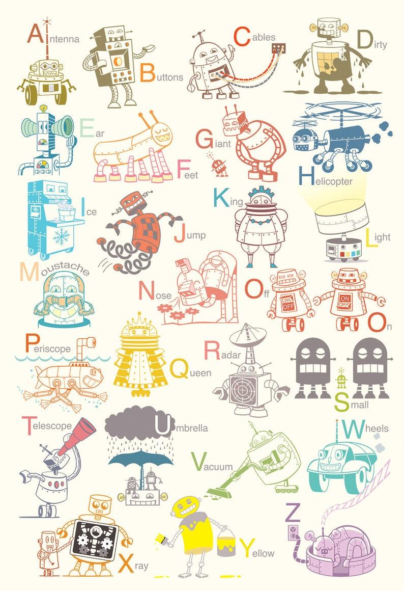 Grand Robot Alphabet Art Print affiche de robot art bébé | Etsy