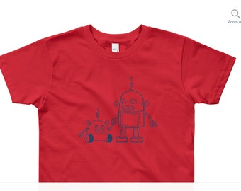 Robot T-shirt - Tee for boys or girls, Green t-shirt, gift for 8 year old, size 8, kids size small