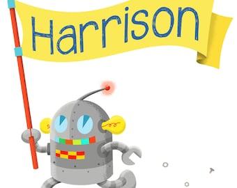Personalized Name print - Nursery Wall decoration - Art Print Robot - Art for Kids Room - Robot wall art - Robot Nursery - personalized art