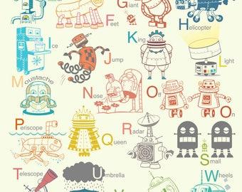 Big Robot Alphabet Art Print - robot poster, baby art, robot nursery decor, robot art print, alphabet poster, alphabet art, boy nursery art