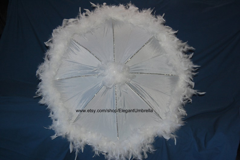 34 inch White Feather Trimmed Bridal Shower Umbrella with Silver Bead Trim