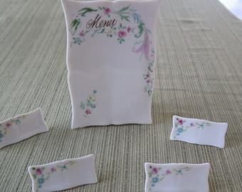 NOS Vintage Lillian Vernon Porcelain Floral Menu Plate & Name Place Cards Japan