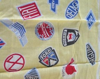 Vintage Scarf Hankie Handkerchief Car Badge Emblems