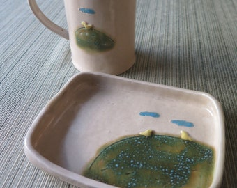 Handmade Ceramic Chick Tree Cup and Saucer Tray Pottery Set