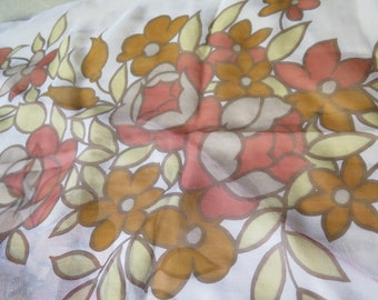 Vintage 60s Mod Floral Silk Scarf Rectangle Hand Rolled Edge