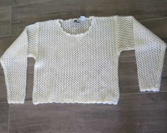 Vintage Open Knit Ivory Mohair Blend Pullover Sweater size M CTME