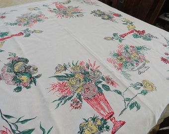Vintage 50s Startex Nu-Mode Cotton Floral & Fruits Tablecloth