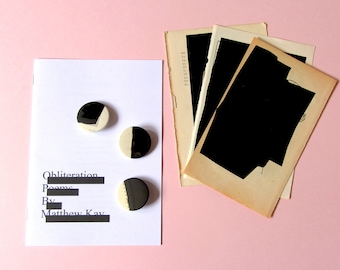 """limited edition poetry zine: """"obliteration poems"""" plus original collage & handmade badge"""