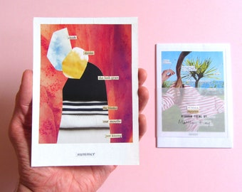"""limited edition diagram poetry chapbook zine """"Summer \ Variations"""" & original collage"""