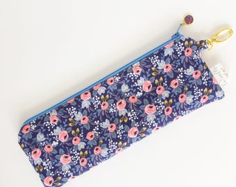 """9.5"""" x 3.5"""" Top Zippered Pouch // Rosa in Blue by Rifle Paper Co"""