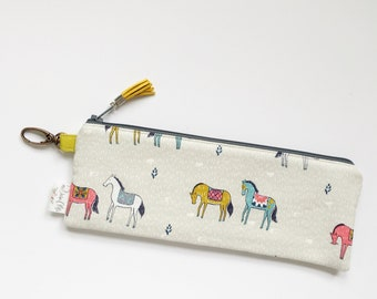"""9.5"""" x 3.5"""" Top Zippered Pouch //  Horses"""