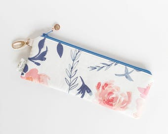 """9.5"""" x 3.5"""" Top Zippered Pouch // Aquarelle Study in awash by Bonnie Christine"""