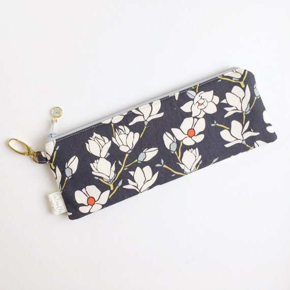 "9.5"" x 3.5"" Top Zippered Pouch // Magnolias"