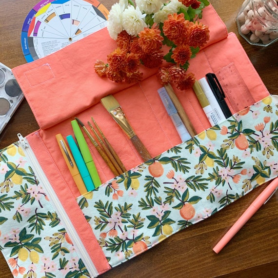 Artist Roll or Pen Roll with zippered pocket// Citrus Mint